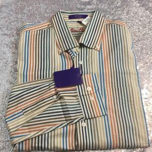 NWT Alan Flusser striped long sleeve shirt
